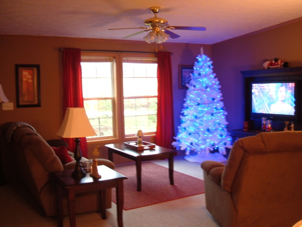 Christmas 2012, We bought a new tree this year. Its white with blue LED lights, blue ribbon, blue ornaments and silver garland. Pics dont do it justice, its prettier in person. , Whole room view. Have added red curtains and took down the ivory, I like the red better, makes the room feel warmer. , Living Rooms Design