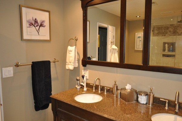 DIY Master Bathroom Gut and Remodel, My husband and I were forced to remodel our bathroom when the shower floor started to sink through our garage ceiling due to the previous owner's shoody workmanship. It was our first room that we completed gutted and learned everything from tiling, moving plumbing around, drywall, and shower installation. , DIY Master Bathroom Renovation., Bathrooms Design