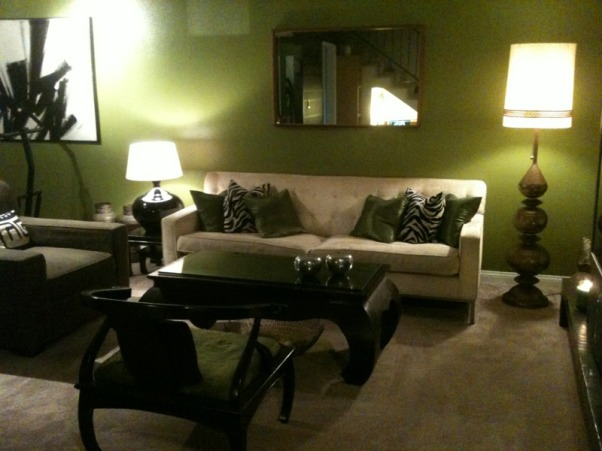 work in progress, my last condo..sorry for the bad lighting..I know I need a larger mirror or art piece over the sofa, but had none at the time..what other color would you suggest to add to the room besides this avocado green?  Everything is from a thrift store or yard sale., something bigger over the sofa, yes? , Living Rooms Design