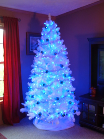 Christmas 2012, We bought a new tree this year. Its white with blue LED lights, blue ribbon, blue ornaments and silver garland. Pics dont do it justice, its prettier in person. , LOVE our tree. , Living Rooms Design
