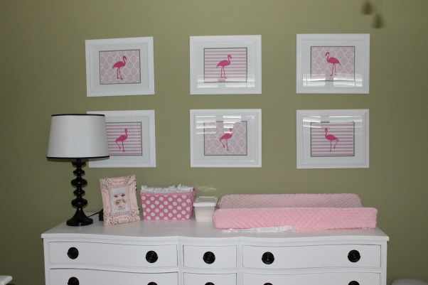 Heidi's Flamingo Haven, We moved to Florida last year so I decided to create a subtle flamingo theme for my daughter's nursery., The dresser was a restored piece I found on Craigslist  , Nurseries Design