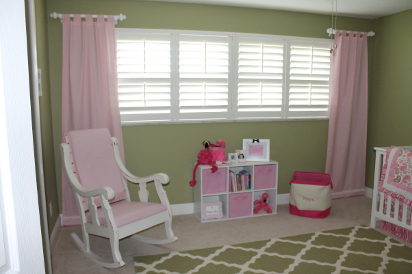 Heidi's Flamingo Haven, We moved to Florida last year so I decided to create a subtle flamingo theme for my daughter's nursery., The rocking chair is an antique piece I bought on Craigslist and recovered.  , Nurseries Design