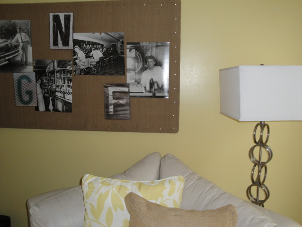 Burlap LoVe, I have become hooked on burlap.  It started with one piece, and from there, I redecorated my living room and hallway with burlap touches., I found this great burlap board at HomeGoods and used it as a piece of art.  I added black and white pictures of my grandpa to warm it up.      , Living Rooms Design