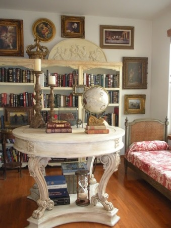 Formal Gustavian French Home Library, Gustavian style Library with painted furniture. All furniture from Craigslist., Painted Craigslist Furniture...   , Other Spaces Design