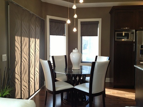Modern, elegant small space, Hunter Douglas custom panel blinds..round table with high back white chairs.  Elegant lighting and wide plank flooring.  Dark Grey/Brown Walls. 7.5' X 9, Very small space elegant, neutral color breakfast area., Kitchens Design