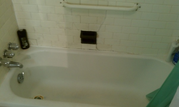 Bathroom Tragedy!!, Just purchased my first home and this is the main bath... Wish I could afford to remodel it!, Need I say how bad this is!, Bathrooms Design