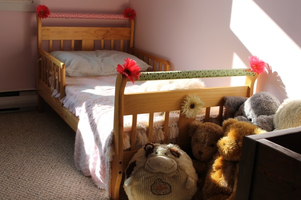 Shared toddler room, This was my first diy makeover, it was on a shoestring budget. Our little girls share the room., We decided to add a little something to my 2 yr olds first big girl bed. , Girls' Rooms Design