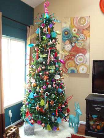 "Christmas decor!, My theme: Vintage, whimsical :)  Marry the two, and this is what you get.  Check out my facebook page ""Decorating Damsel"" for all things ""decorating""! , Whimsical, ""Dr. Seuss-like"" Christmas Tree (9 feet tall)      , Holidays Design"