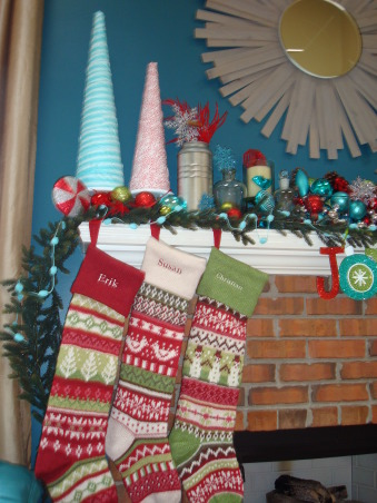 "Christmas decor!, My theme: Vintage, whimsical :)  Marry the two, and this is what you get.  Check out my facebook page ""Decorating Damsel"" for all things ""decorating""! , Stockings are Pottery Barn Kids.        , Holidays Design"