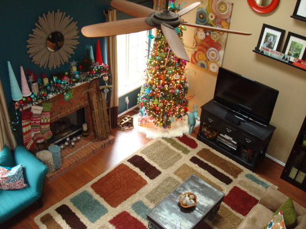 "Christmas decor!, My theme: Vintage, whimsical :)  Marry the two, and this is what you get.  Check out my facebook page ""Decorating Damsel"" for all things ""decorating""! , View into family room from upstairs balcony , Holidays Design"