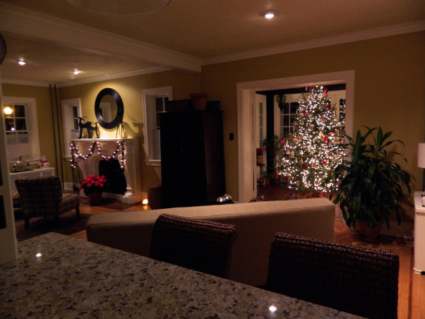 Christmas 2012, Christmas has arrived at our 1924 custom built, blonde brick, terracotta and copper roofed Italian villa-style home! Happy Holidays!, The view of the living room and sunroom from the kitchen.     , Holidays Design