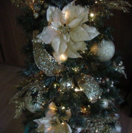 Chrismas Trees - Merry Christmas, HGTV Nation!, Chrismtas tree in different colors and different sizes. Classic to traditional., White and gold christmas tree, Holidays Design
