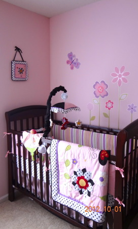 Baby Girl's Nursery Room, Beautiful pink nursery room with flowers and butterflies, Beautiful pink nursery room with flowers and butterflies. , Nurseries Design