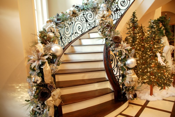 Home for the Holidays in TEXAS!, overstuffed christmas tree and garland to boot!  Large ornaments with lots of ribbon and clear balls can make a grand impression., elaborately decorated stairs with lots and lots of decor!, Holidays Design