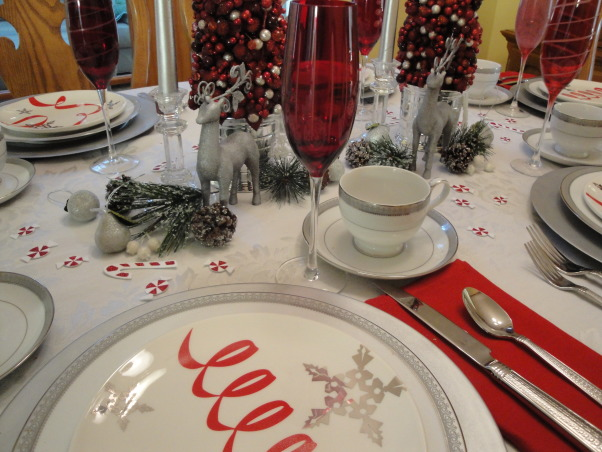 Red, white and peppermint Christmas! , My living room and dinning room are all ready for Christmas.  I decked everything out in red and white.  , The red flutes are also from Mikasa.  I love putting them out at the holidays.   , Holidays Design