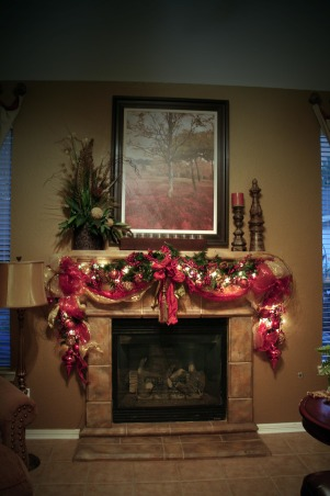 "Christmas Mantel, Christmas Mantel 2012. Made some adjustments since last year. Decorations never come out of storage in the same shape you put them into storage. Requires a lot of ""fluffing""., Holidays Design"