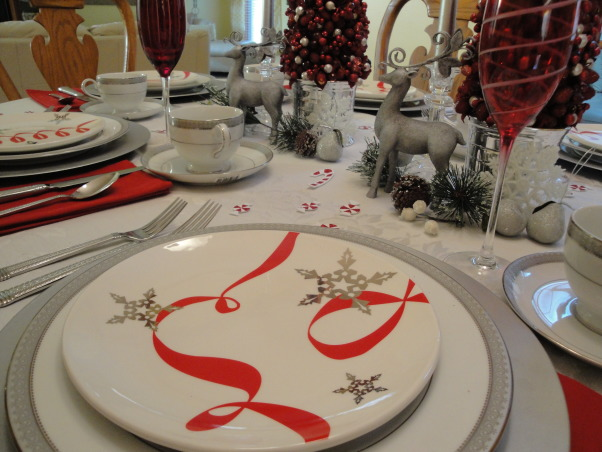 Red, white and peppermint Christmas! , My living room and dinning room are all ready for Christmas.  I decked everything out in red and white.  , Love these plates. I got them at the Mikasa outlet years ago but still love them.    , Holidays Design