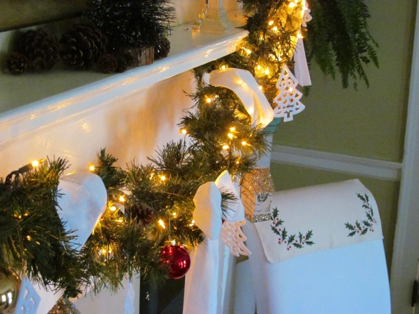 White Christmas, Using white throughout the house for Christmas!, White Mantle., Dining Rooms Design