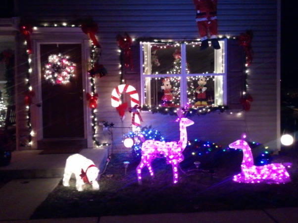 Christmas at my house, My kids asked me to put other decorations up this  year as I was going to make all of the decorations about breast cancer the pink deers are still outside. I put some humor in it as I put santa clause hanging from the bedroom window., Holidays Design
