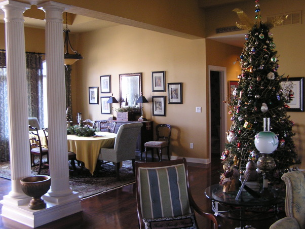 Christmas 2012, Living/Dining room.  This year, the glass tree went up., Large open living area.  As always, very difficult to photograph in natural light.    , Holidays Design