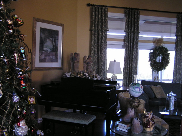 Christmas 2012, Living/Dining room.  This year, the glass tree went up., Piano view.    , Holidays Design
