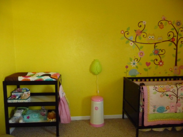 Dena Happi Tree Nursery, Here is our nursery for our baby girl who is due to arrive January 2, 2013. We wanted a fun space with lots of bright colors, but spacious and modern as well to go with the rest of our house. Please let us know what you think. We are so excited for her arrival as this is our first child. Thanks for looking!, Middle of the wall, once we choose her name we are going to display her name in wooden letters above    , Nurseries Design