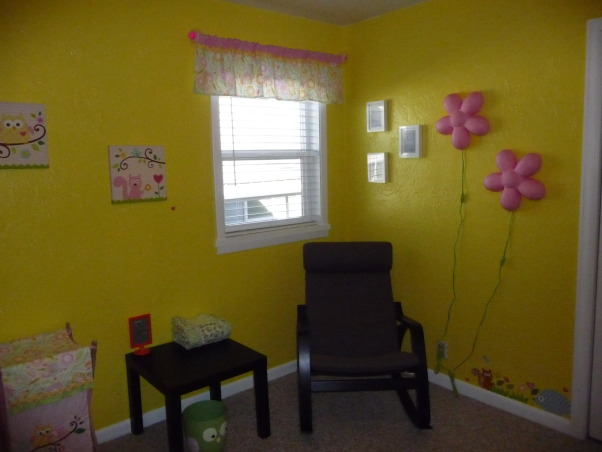 Dena Happi Tree Nursery, Here is our nursery for our baby girl who is due to arrive January 2, 2013. We wanted a fun space with lots of bright colors, but spacious and modern as well to go with the rest of our house. Please let us know what you think. We are so excited for her arrival as this is our first child. Thanks for looking!, Corner where breastfeeding and reading will take place. A nice soothing area.    , Nurseries Design