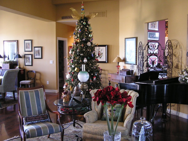 Christmas 2012, Living/Dining room.  This year, the glass tree went up., The glass tree, unlit.    , Holidays Design
