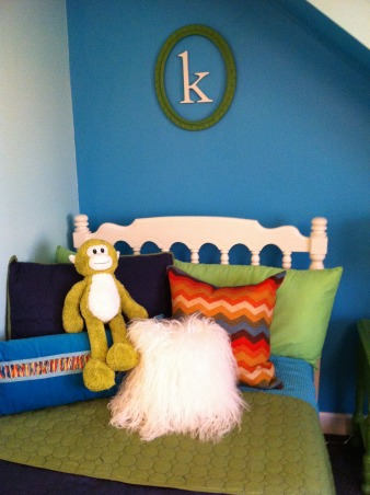 colorful tween room for katie!, This is katie's 10th birthday gift. It has bright blues and greens, chevron painted dresser, and fun accent pieces., Girls' Rooms Design