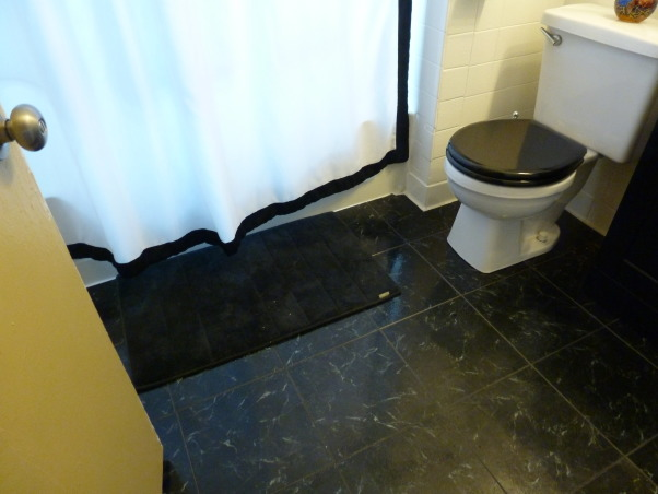 "Simply Black and White, Our tired old bathroom was blue and white 40s speckled  tile. It is a small bathroom in a house built in the 1940's. It may have been the worlds ugliest bathroom. We used tub and tile for dummies epoxy paint on the tile, it worked great. We took the door off the linen closet and painted the inside black, and left it open which made the room look larger. We put up styrofoam crown molding, which is much cheaper then wood, and is easy to install. We removed the big vanity and replaced it with a smaller one which opened up the room, and as a finishing touch I found a waterfall bathroom faucet which lights up when the water is turned on, blue for cold, green for warm, and turns red when the water is hot. We gutted and remodeled the whole bathroom for under fifteen hundred dollars. I love my ""new"" bathroom. My brother (Chris Mayne) is a really awesome avian photographer and I used his bird photos to finish off the walls., shiny new floor replacing navy blue tile floor  , Bathrooms Design"