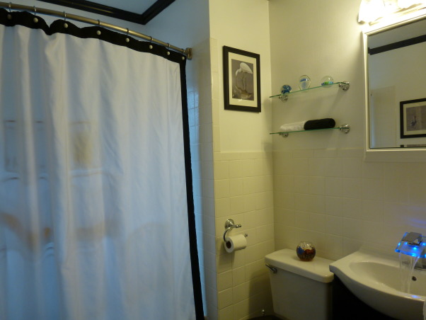 "Simply Black and White, Our tired old bathroom was blue and white 40s speckled  tile. It is a small bathroom in a house built in the 1940's. It may have been the worlds ugliest bathroom. We used tub and tile for dummies epoxy paint on the tile, it worked great. We took the door off the linen closet and painted the inside black, and left it open which made the room look larger. We put up styrofoam crown molding, which is much cheaper then wood, and is easy to install. We removed the big vanity and replaced it with a smaller one which opened up the room, and as a finishing touch I found a waterfall bathroom faucet which lights up when the water is turned on, blue for cold, green for warm, and turns red when the water is hot. We gutted and remodeled the whole bathroom for under fifteen hundred dollars. I love my ""new"" bathroom. My brother (Chris Mayne) is a really awesome avian photographer and I used his bird photos to finish off the walls., black and white shower and tile       , Bathrooms Design"