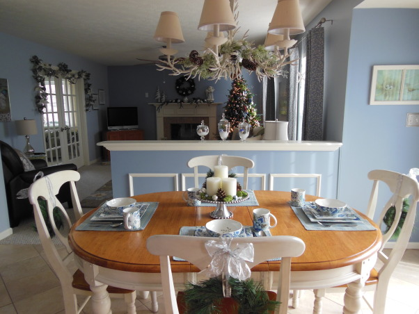 Cottage Style Christmas, We love  our bright cottage style kitchen and family room. I think using silver and white to decorate for christmas gives a festive look without using the traditional christmas colors. (The blue walls are not as bright blue as they show up on pictures), Holidays Design