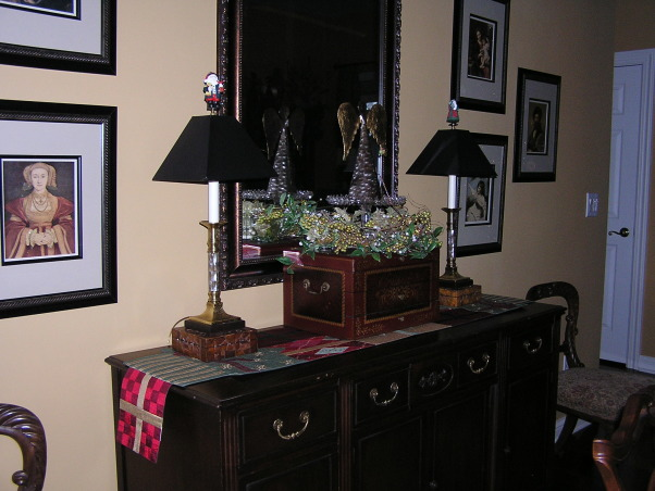 Christmas 2012, Living/Dining room.  This year, the glass tree went up., Dining room buffet, Holidays Design