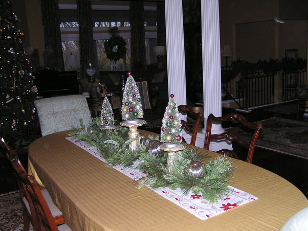 Christmas 2012, Living/Dining room.  This year, the glass tree went up., Table top, Holidays Design