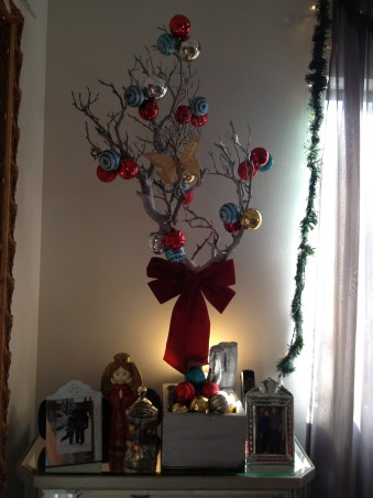 Red , Silver, Turquoise themed Christmas , Another way to add festivities with a bare branch. I painted it silver and hanged balls that was with my color scheme theme.       , Holidays Design