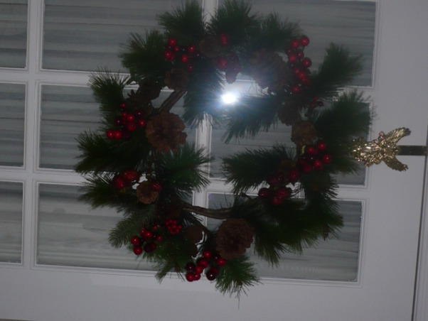 Christmas decorating completed., I found this wreath at Value Village for $4.99. , Holidays Design