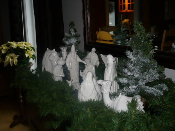 Christmas decorating completed., I made these figures in ceramic classes many,many years ago.I'm glad I made them white because I have never tired of them. , Holidays Design