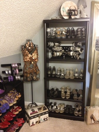 Stiletto House, Bonus Room turned Accessory Closet, Silver Shoes   , Closets Design