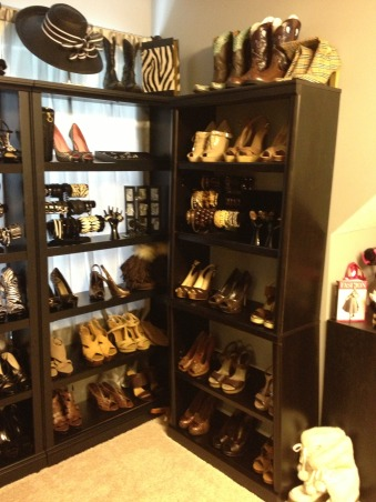 Stiletto House, Bonus Room turned Accessory Closet, Brown Shoes    , Closets Design