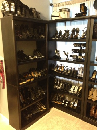 Stiletto House, Bonus Room turned Accessory Closet, Black Shoes    , Closets Design