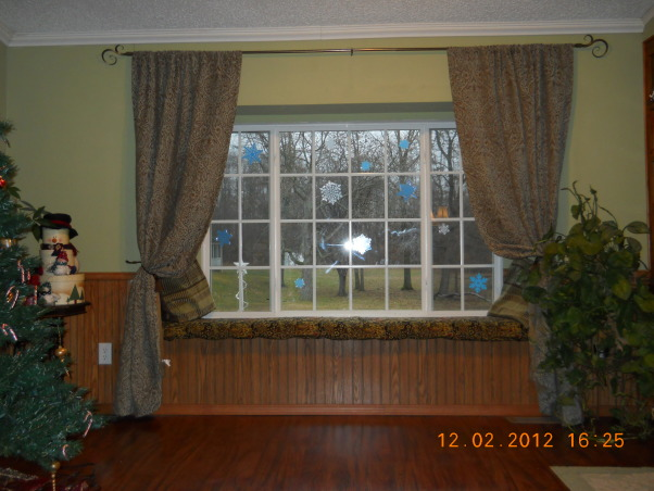 BAY WINDOW...... Finally!, I always wanted a bay window. So when we remodeled we put one in. I love it!, here is a picture from farther out. I think it adds so much more character to the living room. , Living Rooms Design