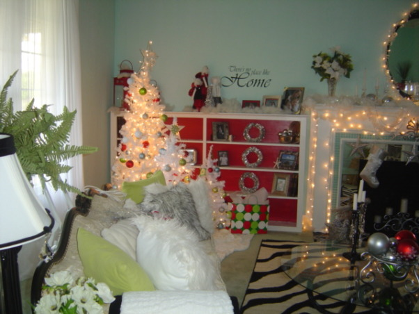 Silver White and Red Christmas Living Room , It's that time again...let the decorating begin.I'm Loving the lights more than anything...everything seems so sad, cold and dark without them, and they are by far one of the most inexpensive ways to decorate. Happy Holidays to everyone and enjoy each other!, Living Rooms Design