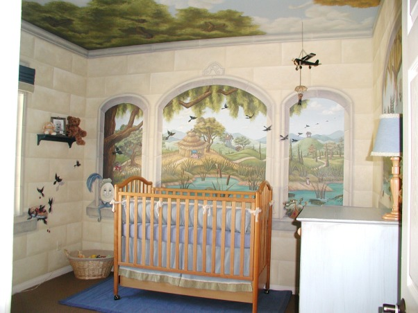 Reed's Nursery Rhyme Nursery, This mural includes children's songs, fables, nursery rhymes, and tons of tiny critters and animals to keep a baby entertained.  I created this nursery for my first born son Reed.  I was 8 months pregnant when I began painting it.  This was my favorite project because it was the first time I got to create a project for my own child.   , Nursery Rhymes Nursery, Nurseries Design