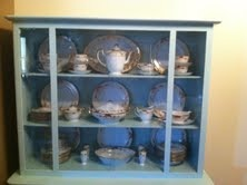 China Cabinet Refinished, making it modern , after with fresh paint and antique china  , Other Spaces Design