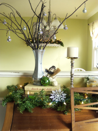 Christmas Decor, Gathered these twigs from our yard and then simply hung tiny ornaments on them.  , Holidays Design