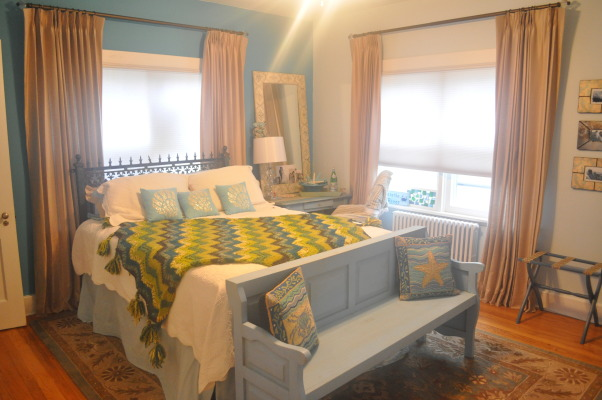 Relaxation Station, This is a bedroom at the shore house.  The headboard is an old gate.  Paint color is barely there blue.  The hope was to create a relaxing room for guests., Bedrooms Design