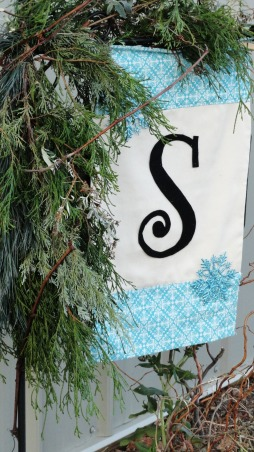 I'm dreaming of a {turquoise} Christmas!!, Red and green will not be seen this holiday season around my home!!!! Turquoise is in its full glory and splendor, such a festive shade of blue!! , homemade garden flag with scrap fabric, felt letter and a couple sparkly snowflakes!! , Holidays Design