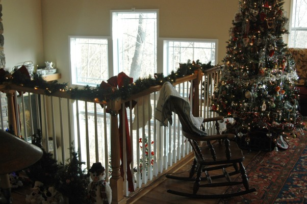Gander Run Ridge at Christmas, Lodge Style Home Decorated for Christmas, View From Loft  , Holidays Design
