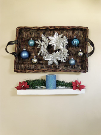 Christmas Decor, Hung a long serving tray basket on the wall, and then hung the ornaments and the wreath from the serving tray with care (actually, with thread) ;)  , Holidays Design