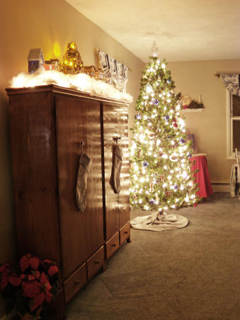 Christmas Decor, A nighttime view of the living room, glowing in the light of the Christmas tree. , Holidays Design